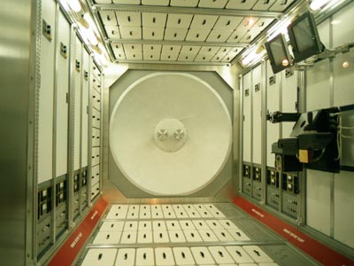 Inside the International Space Station.
